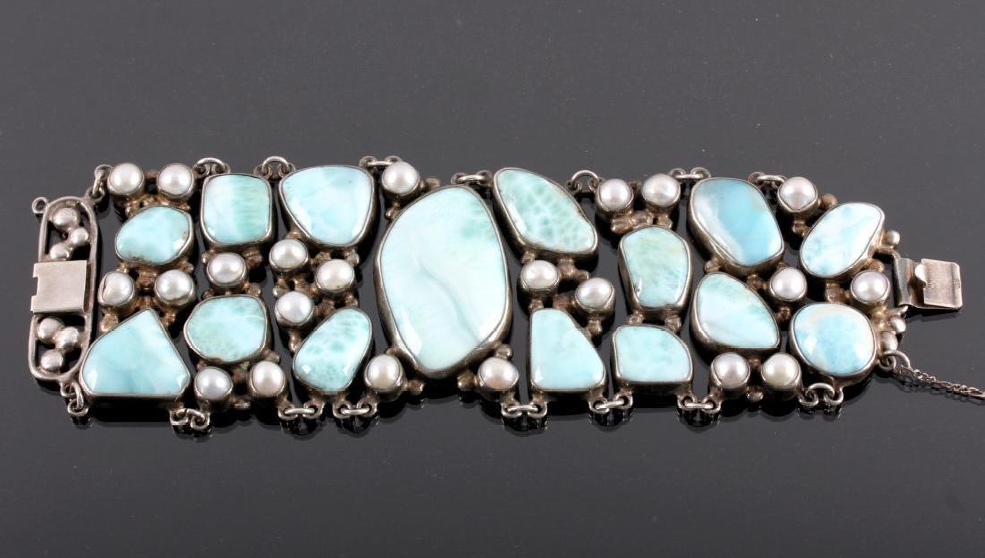 Sterling Silver and Larimar Bracelet - 2