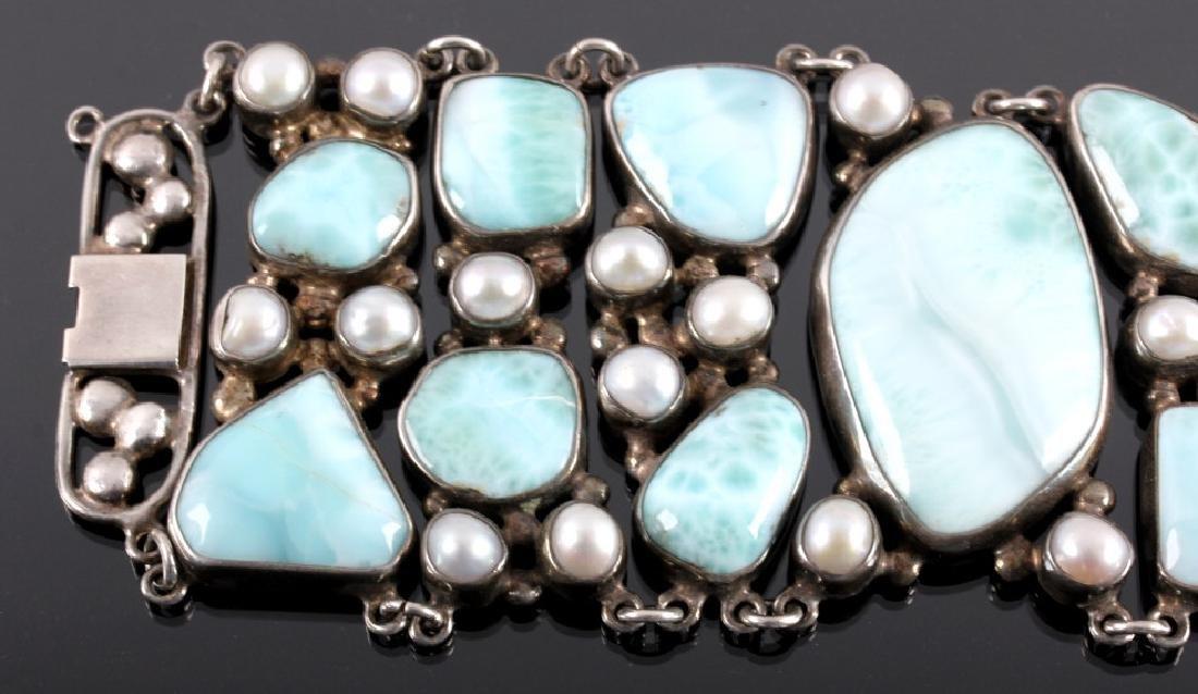 Sterling Silver and Larimar Bracelet - 3