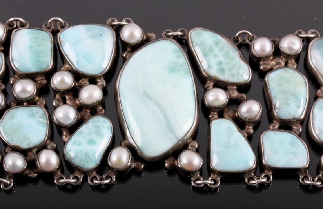 Sterling Silver and Larimar Bracelet - 4