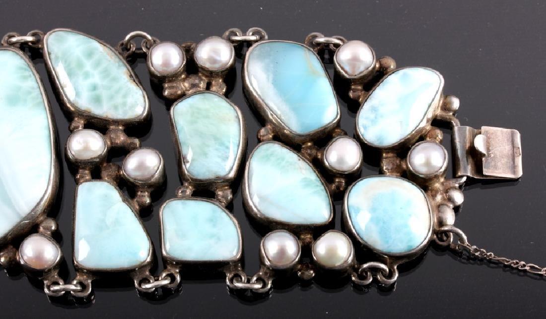 Sterling Silver and Larimar Bracelet - 5