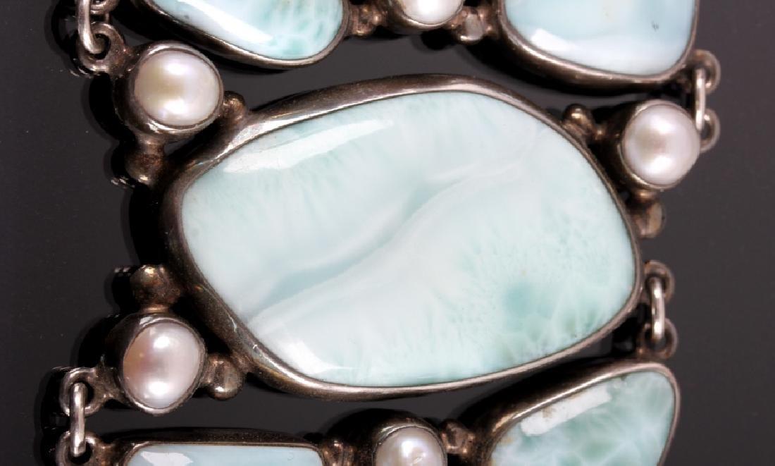 Sterling Silver and Larimar Bracelet - 6
