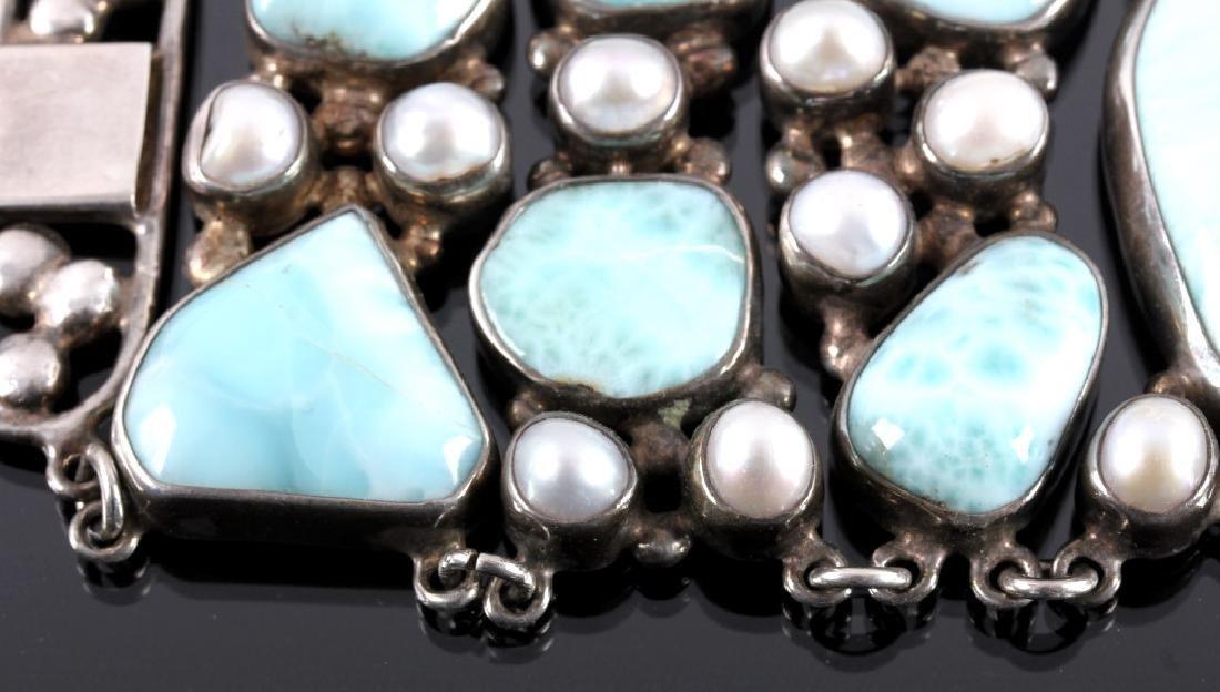 Sterling Silver and Larimar Bracelet - 7