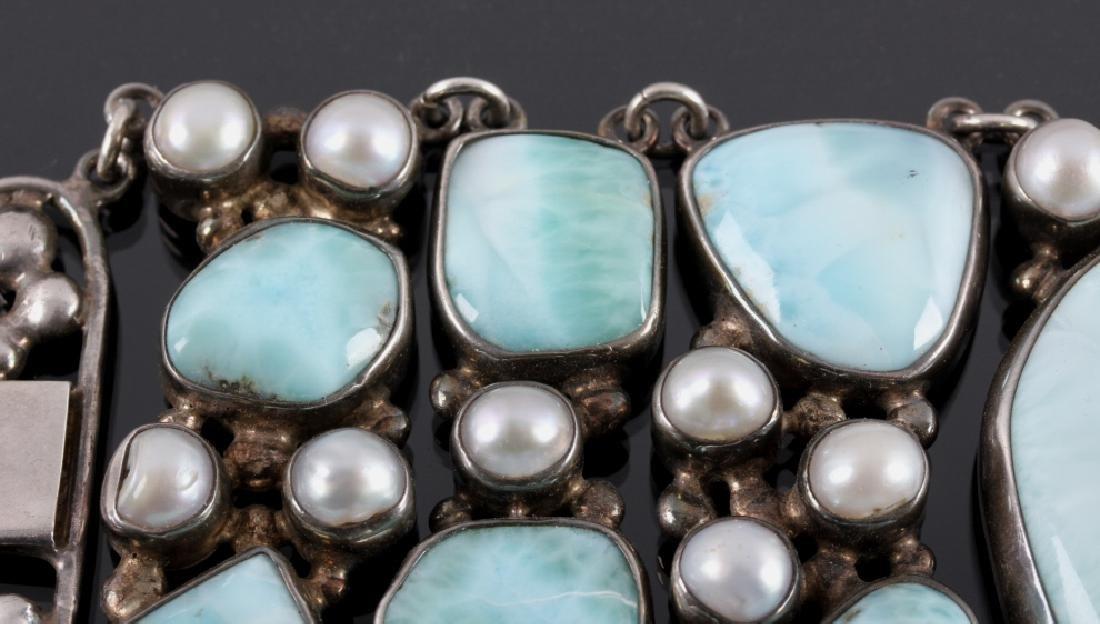 Sterling Silver and Larimar Bracelet - 8