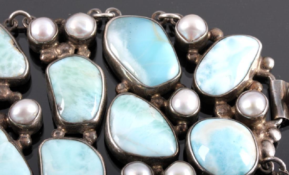 Sterling Silver and Larimar Bracelet - 9
