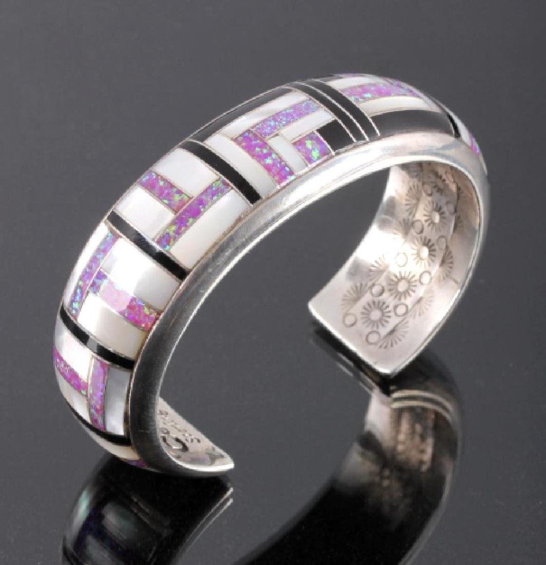 Navajo Sterling Silver Opal Mother of Pearl Cuff