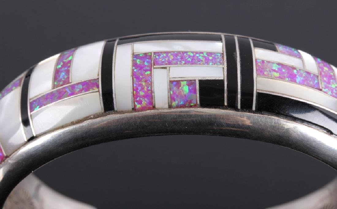 Navajo Sterling Silver Opal Mother of Pearl Cuff - 3