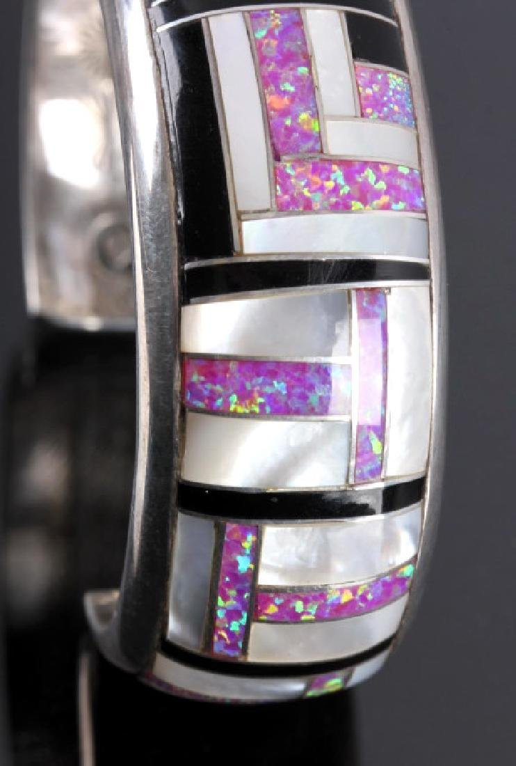 Navajo Sterling Silver Opal Mother of Pearl Cuff - 4