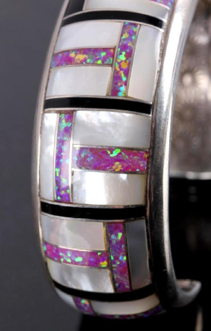 Navajo Sterling Silver Opal Mother of Pearl Cuff - 5