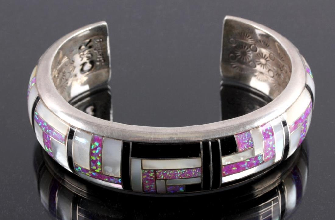 Navajo Sterling Silver Opal Mother of Pearl Cuff - 7