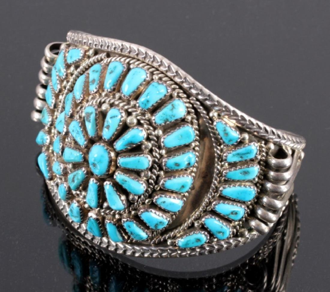 Signed Navajo Sterling Silver and Turquoise Cuff - 2