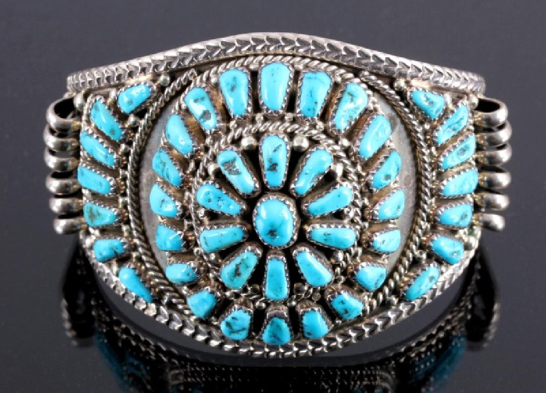 Signed Navajo Sterling Silver and Turquoise Cuff - 3