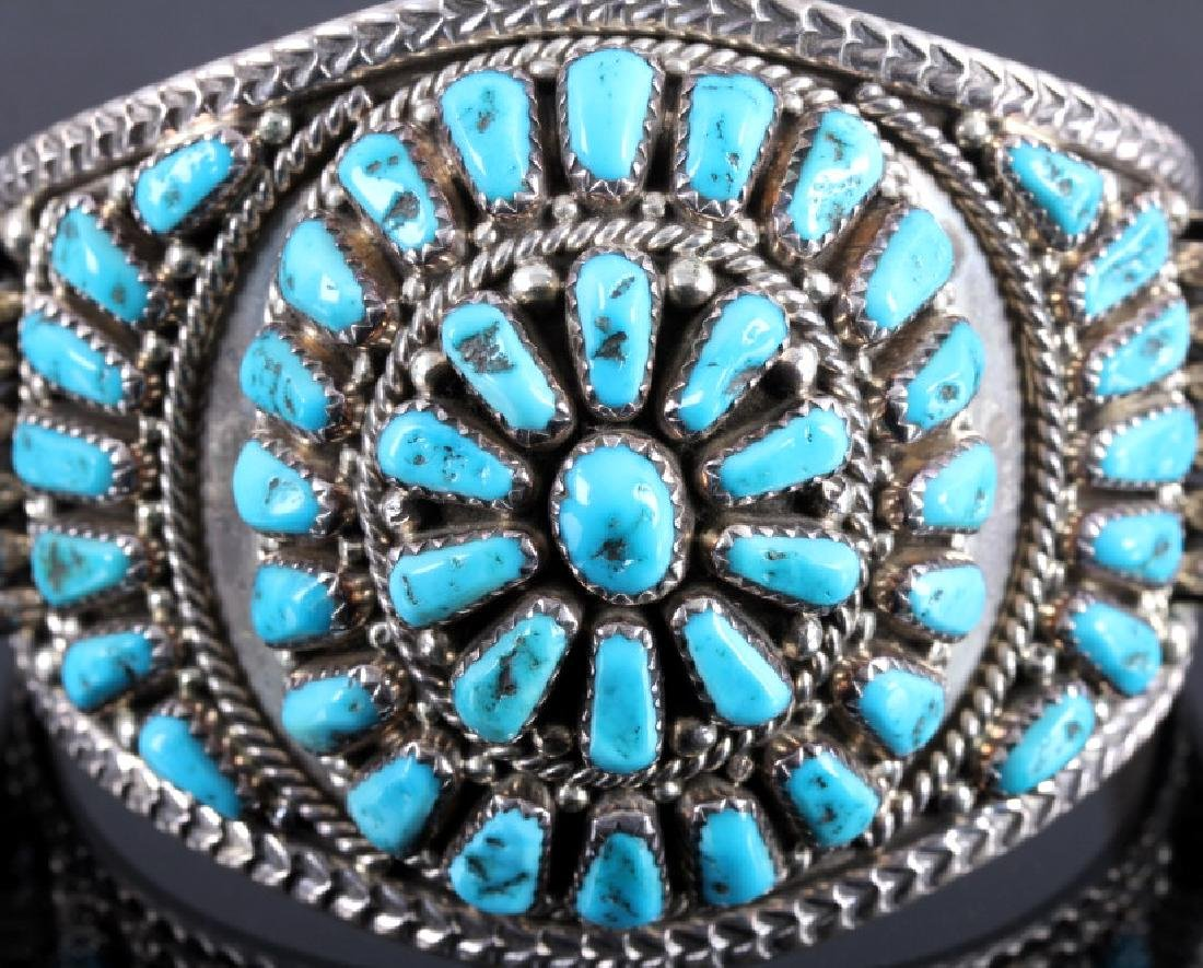 Signed Navajo Sterling Silver and Turquoise Cuff - 4