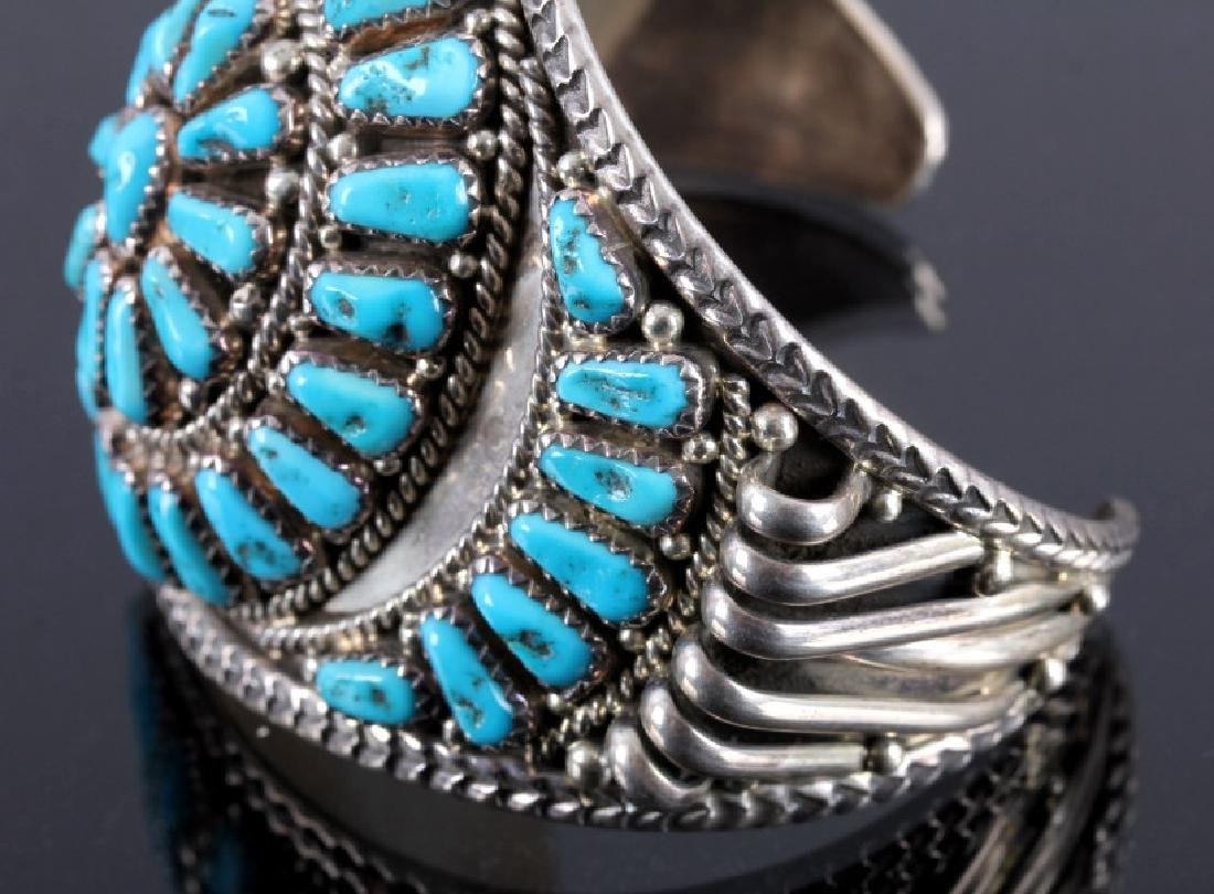 Signed Navajo Sterling Silver and Turquoise Cuff - 5