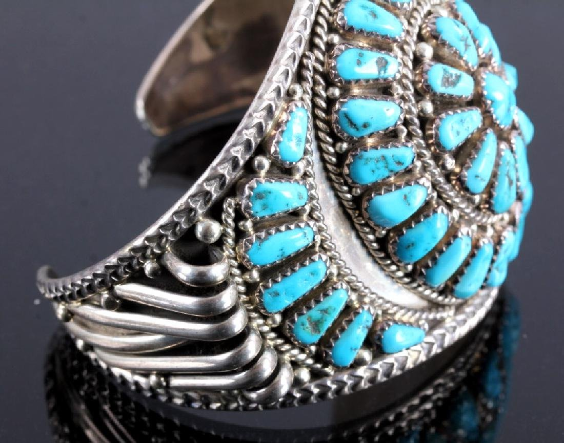 Signed Navajo Sterling Silver and Turquoise Cuff - 6