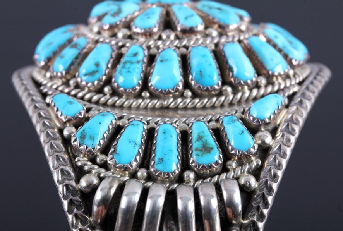 Signed Navajo Sterling Silver and Turquoise Cuff - 7