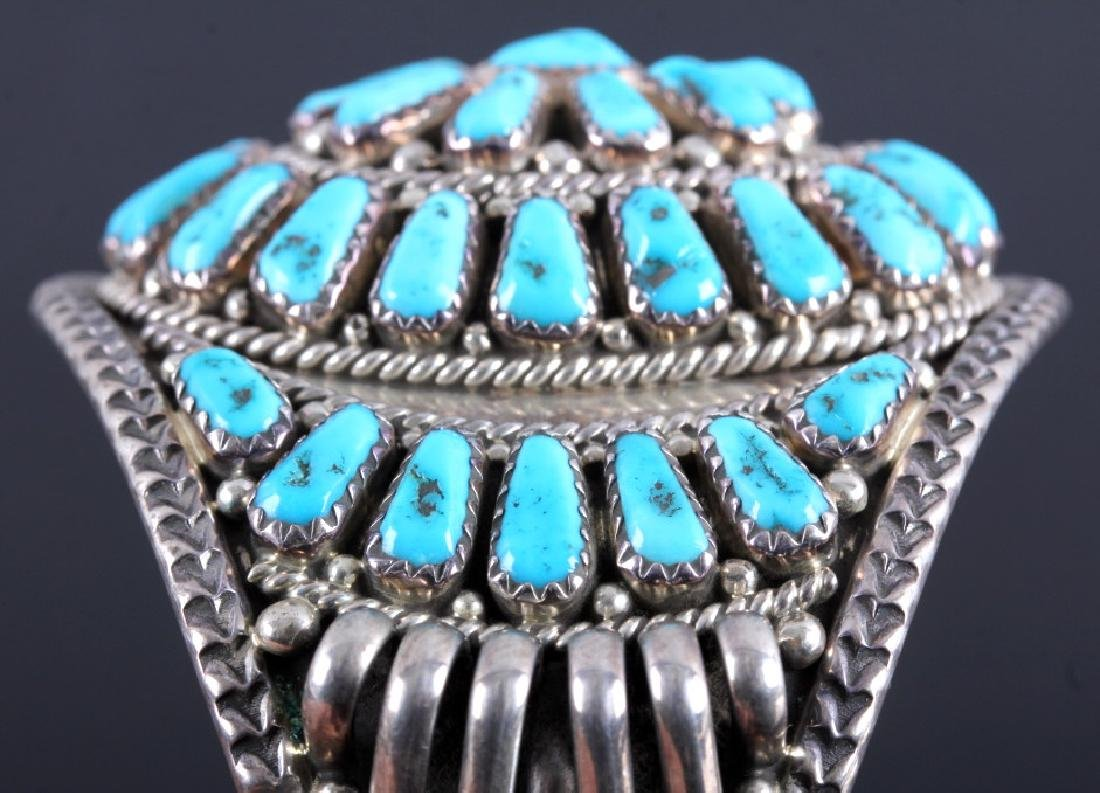 Signed Navajo Sterling Silver and Turquoise Cuff - 8