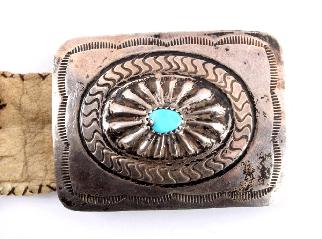 Navajo Beaded Belt and Sterling Silver Buckle - 4