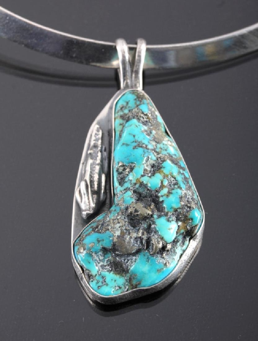 Navajo Sterling Silver Turquoise Nugget Necklace - 2