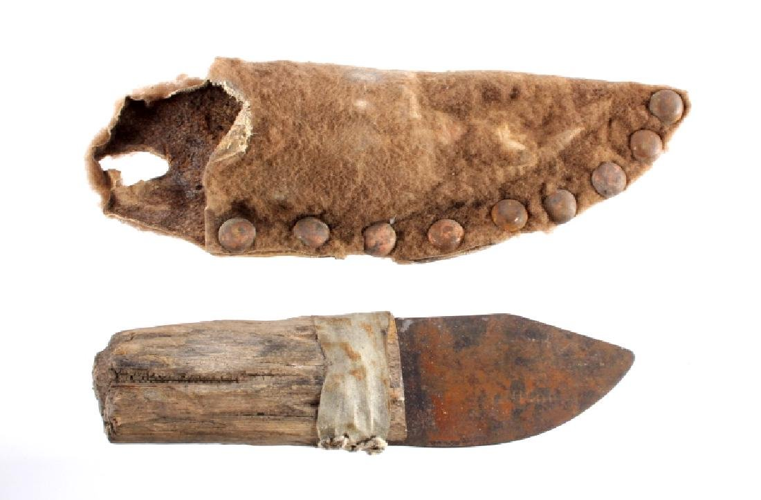 Plains Indian Buffalo Skinning Knife & Sheath