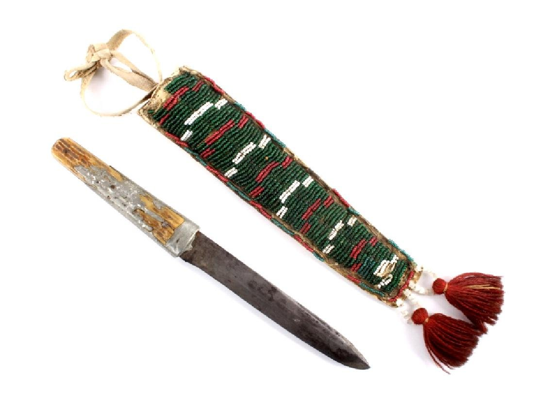 Blackfoot Beaded Sheath & Bowie Knife c. 1880