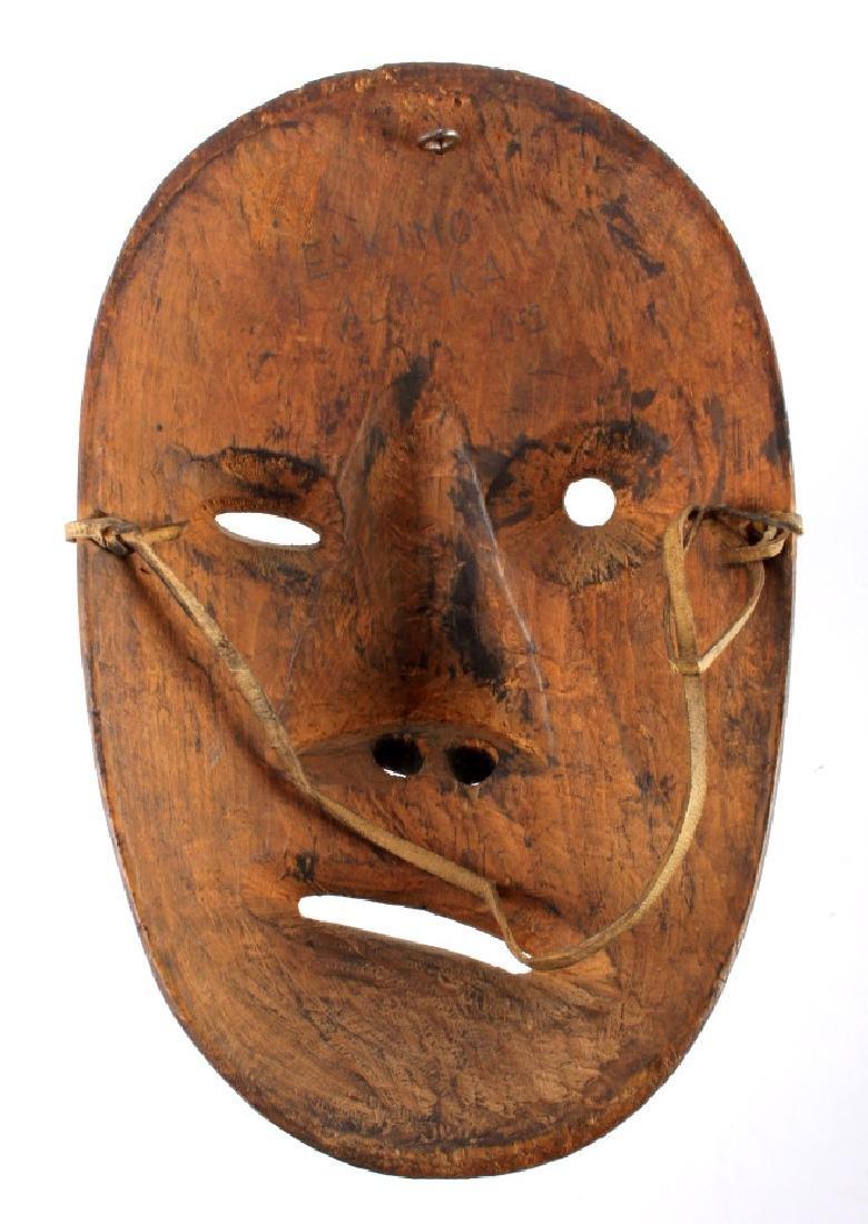 Kings Island Eskimo Carved Wooden Mask c.1890-1900 - 7
