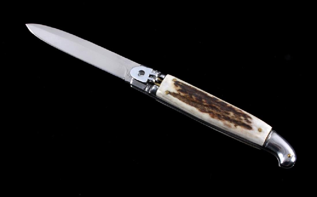 Foxinox Italian Stiletto Switchblade Knife Stag