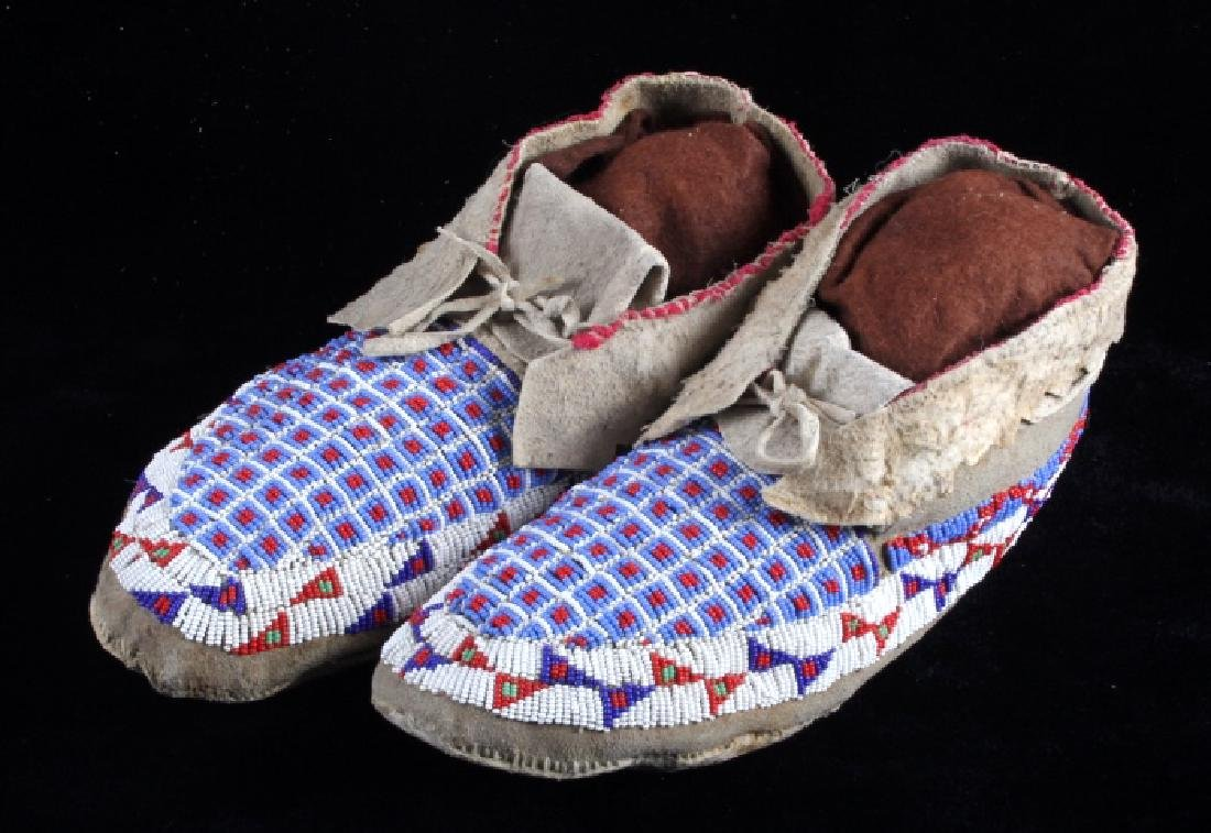 Sioux Native American Beaded Moccasins - 3