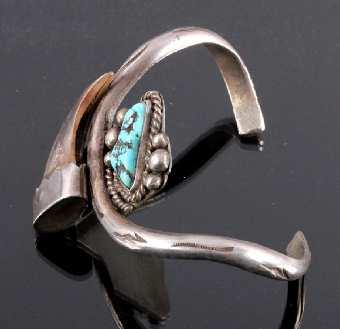 Navajo Sterling Silver Turquoise Bear Claw Cuff - 2