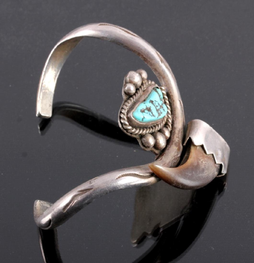Navajo Sterling Silver Turquoise Bear Claw Cuff - 3