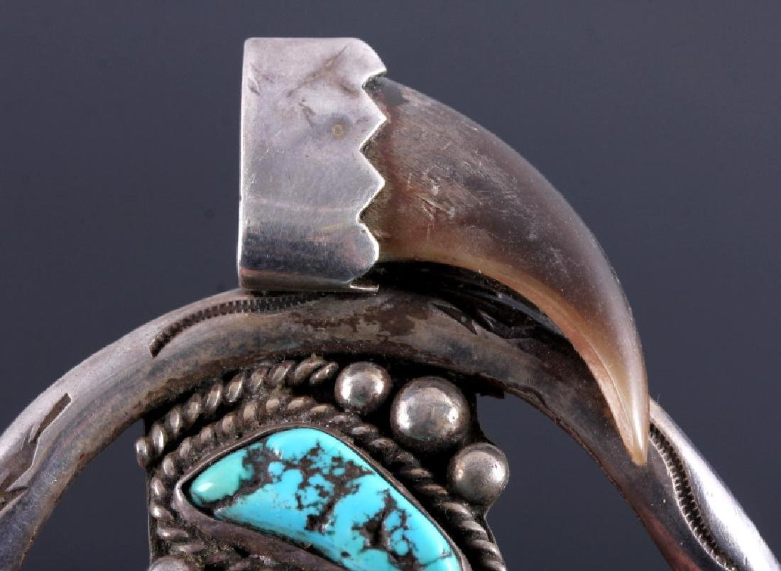 Navajo Sterling Silver Turquoise Bear Claw Cuff - 6