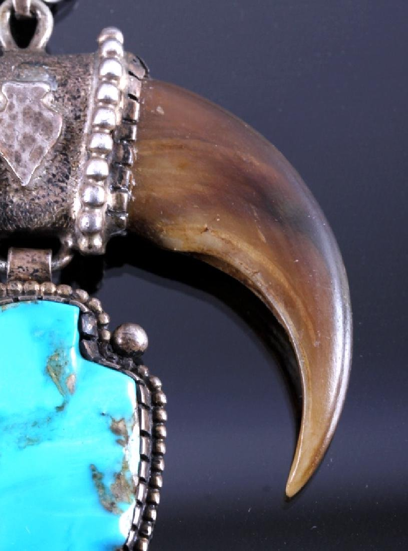 Navajo Sterling Turquoise Bear Claw Necklace - 5