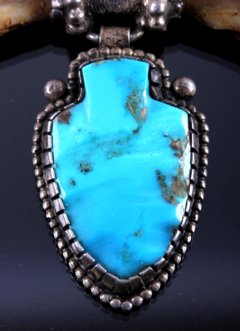 Navajo Sterling Turquoise Bear Claw Necklace - 6
