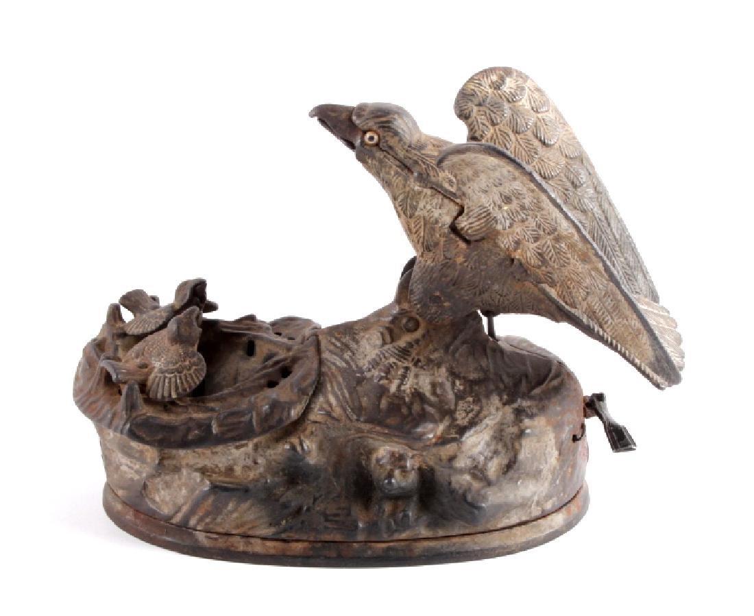 Antique J & E Stevens Cast Iron Eagle Coin Bank