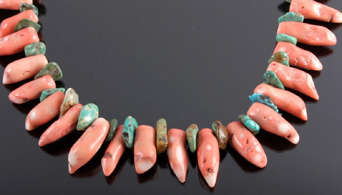 Navajo Turquoise & Coral Nugget Necklace - 2