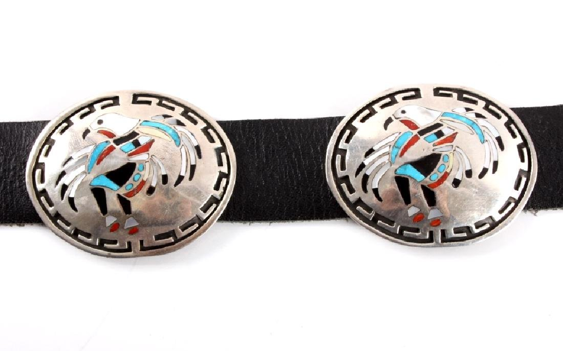 Navajo Sterling Silver Eagle Kachina Concho Belt - 2