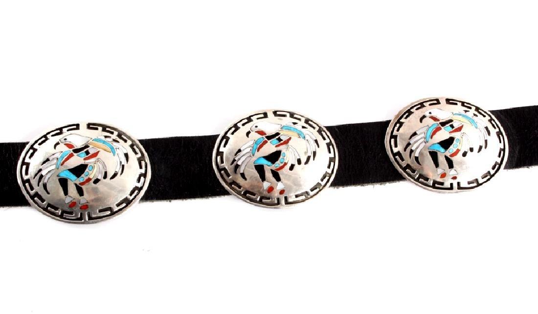 Navajo Sterling Silver Eagle Kachina Concho Belt - 3