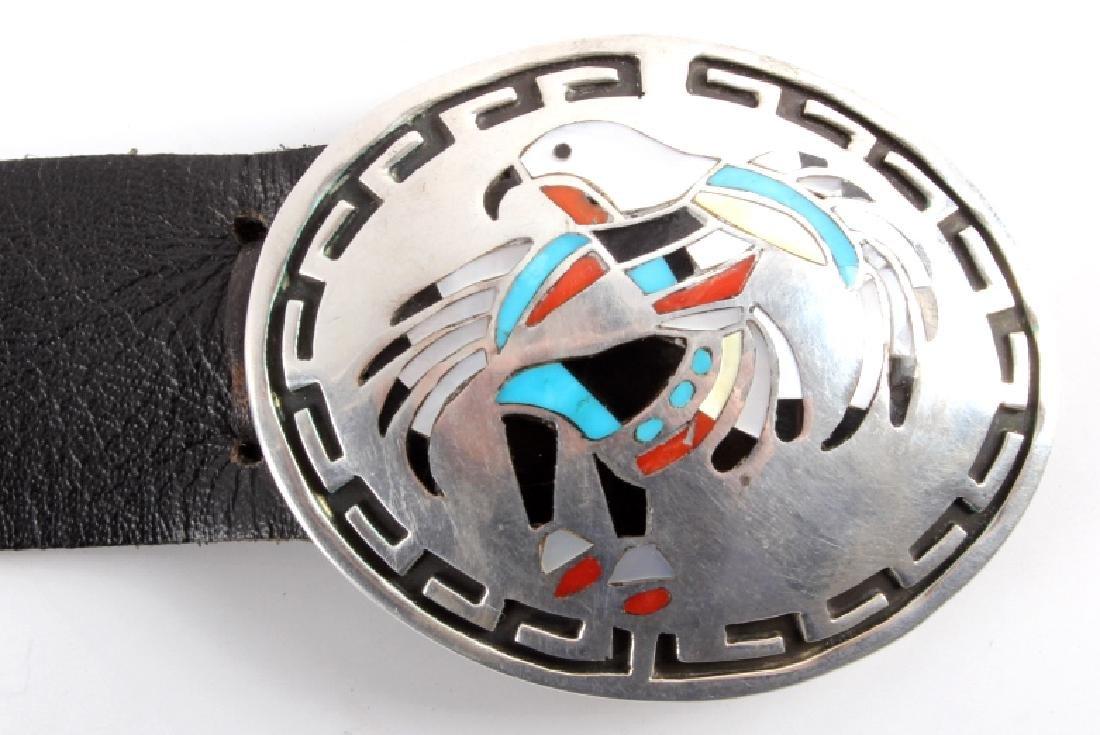 Navajo Sterling Silver Eagle Kachina Concho Belt - 5