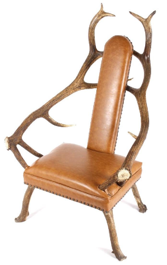 Rustic 7x7 Montana Elk Antler Leather Lounge Chair
