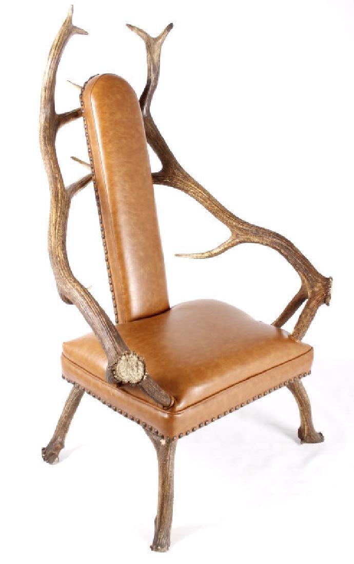 Rustic 7x7 Montana Elk Antler Leather Lounge Chair - 2