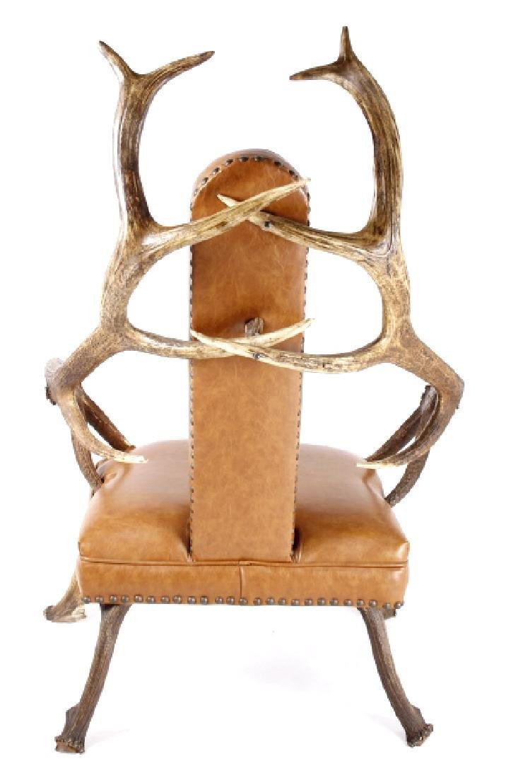 Rustic 7x7 Montana Elk Antler Leather Lounge Chair - 3