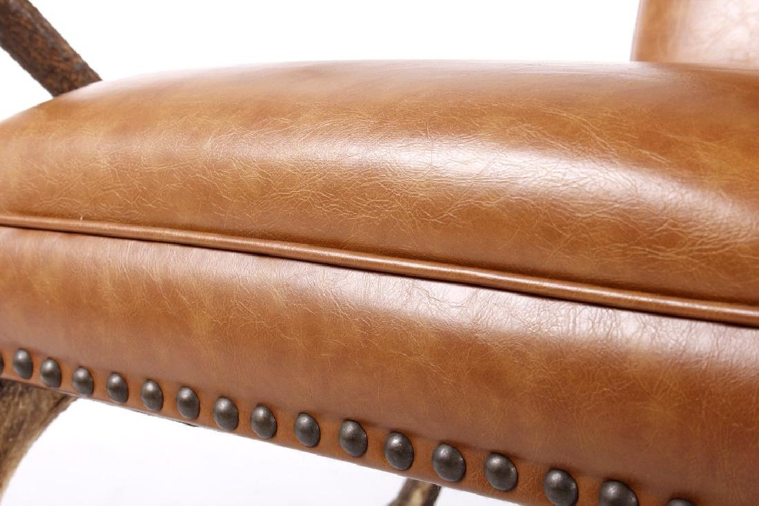 Rustic 7x7 Montana Elk Antler Leather Lounge Chair - 6