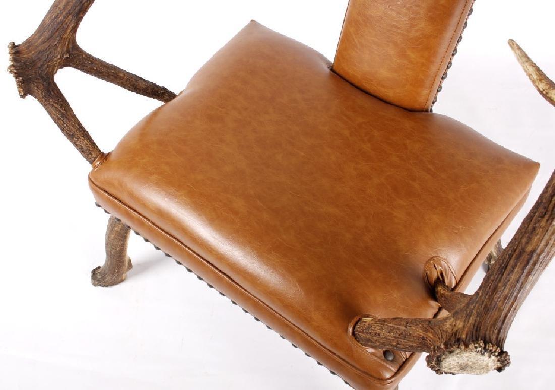 Rustic 7x7 Montana Elk Antler Leather Lounge Chair - 7