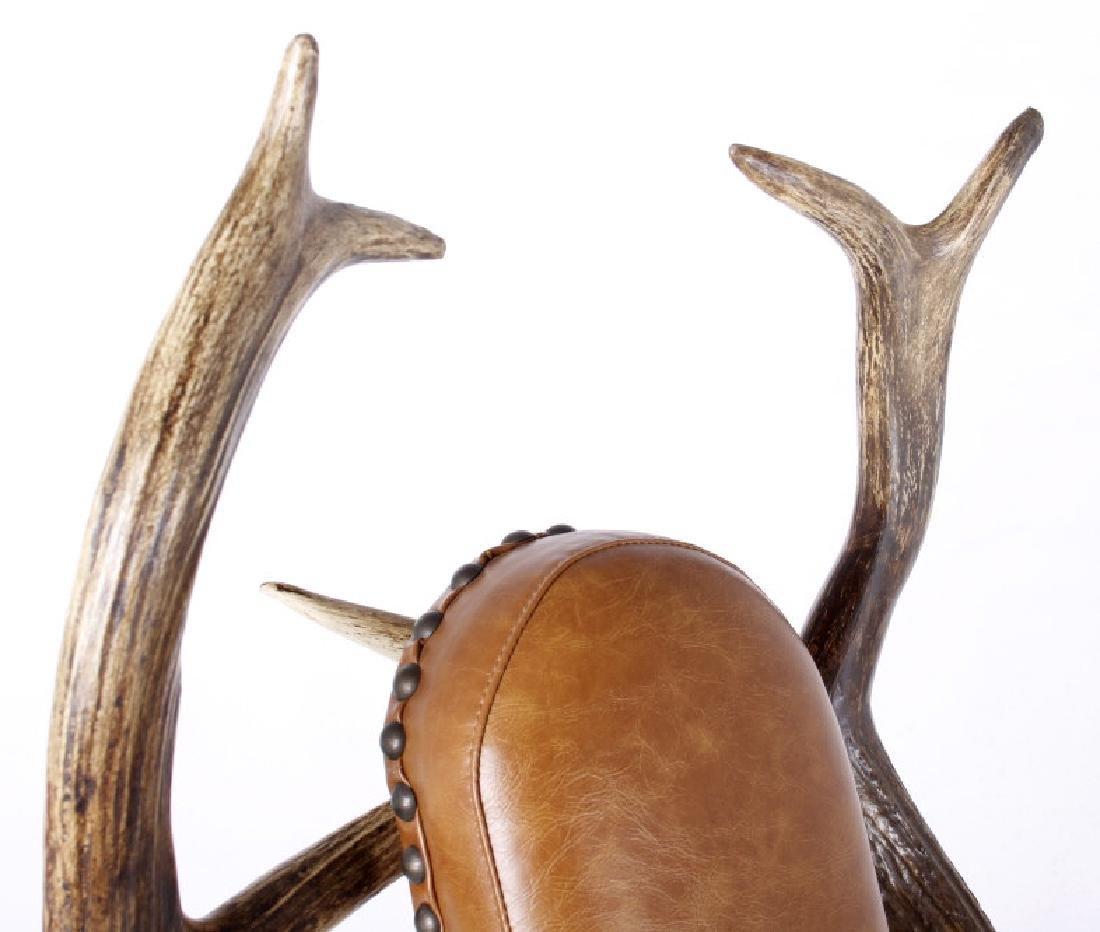 Rustic 7x7 Montana Elk Antler Leather Lounge Chair - 8