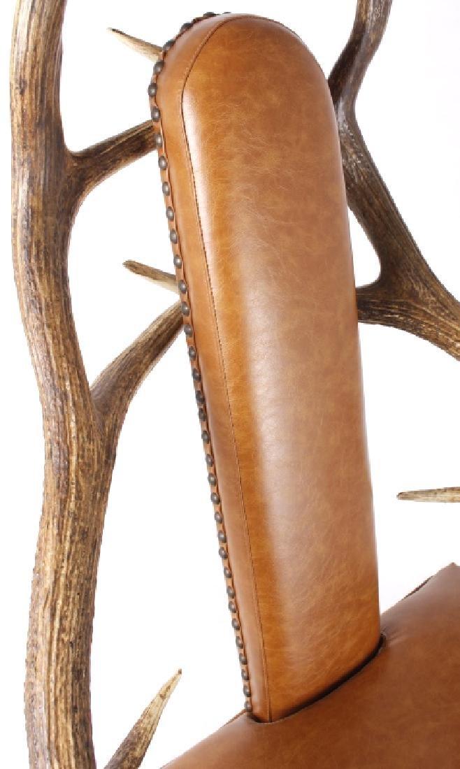 Rustic 7x7 Montana Elk Antler Leather Lounge Chair - 9
