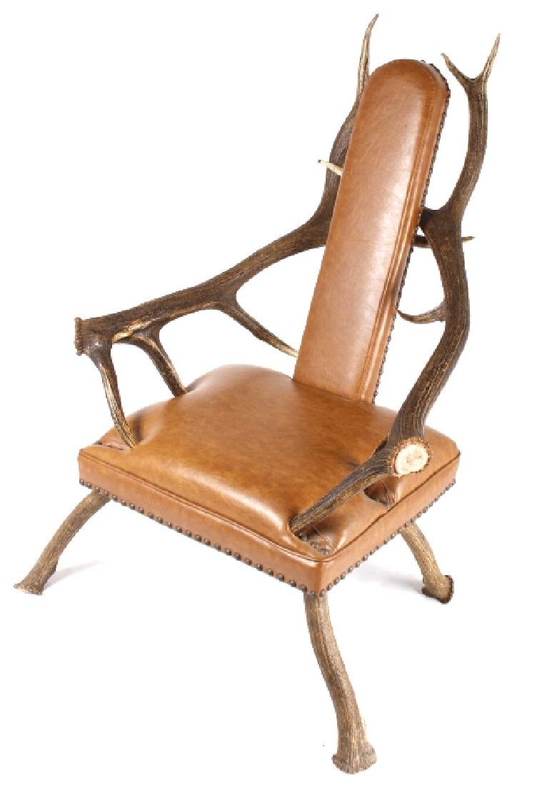 Rustic 6x6 Montana Elk Antler Leather Lounge Chair