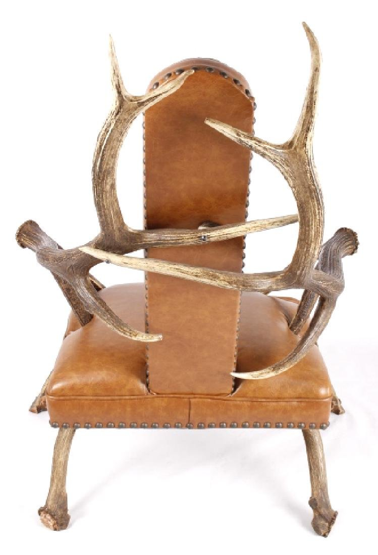Rustic 6x6 Montana Elk Antler Leather Lounge Chair - 2
