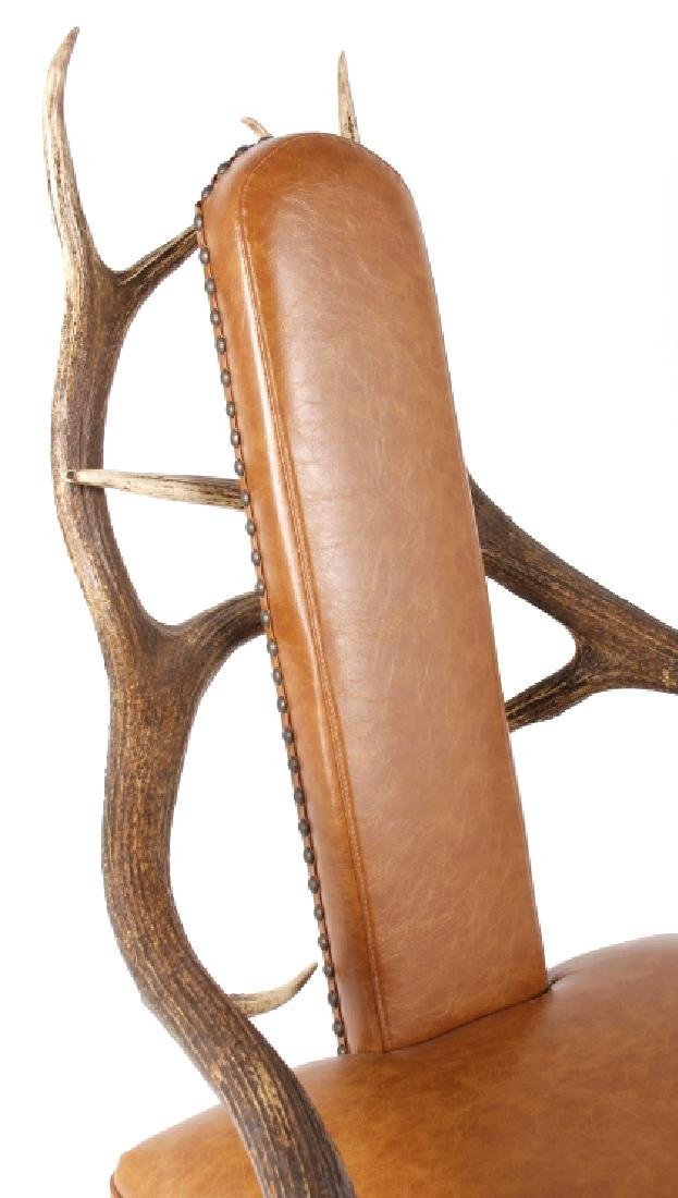 Rustic 6x6 Montana Elk Antler Leather Lounge Chair - 4