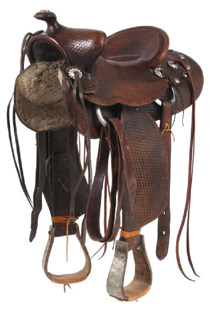 Texas Tanning & MFG Co. Custom Fully Tooled Saddle - 2
