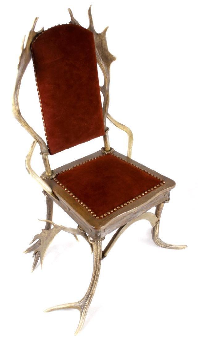 German Fallow & Stag Deer Antler Chair c.1890-1920