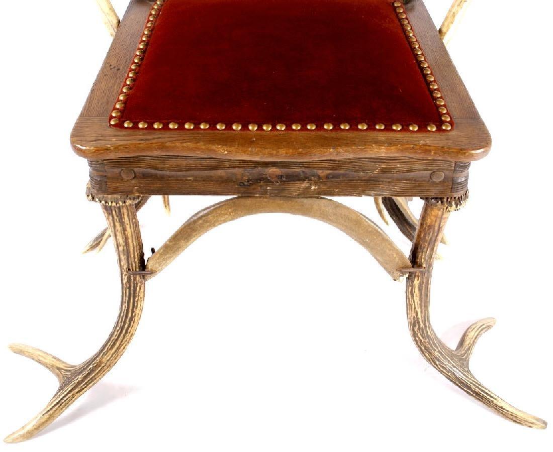 German Fallow & Stag Deer Antler Chair c.1890-1920 - 5